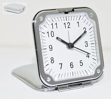 Silver Folding Travel Alarm Clock Vintage Style Fold Up Easy To Read Foldable