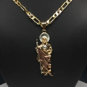 "San Judas Tadeo Tres Col Saint Jude Pendant Necklace Chain 26"" Cadena Oro Lamina"
