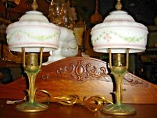 Pair Antique  Boudoir Lamps with matching wedding cake shades   7724A