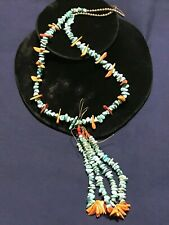 SANTO DOMINGO TURQUOISE SPINY OYSTER STRAND NATIVE AMERICAN JACLA STERLING BEADS
