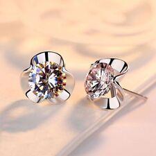 Fashion Women Cute Silver Jewelry Clover Crystal Ear Stud Cuff Earrings Gift