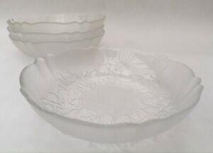 Arcoroc Vintage Embossed Floral Clear Glass Fruit Salad Dessert Bowls x 4