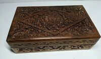 Vintage Hand Carved, Crafted Wooden Box from India, Rectangular Hinged