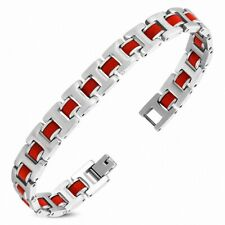 Bracelet With Link Panther Stainless Steel With Rubber Red 422
