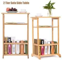 Side Table with Magazine Rack Bamboo End Coffee Table Sofa Side Storage Rack