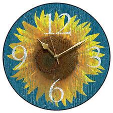 Beautiful Sunflower Kitchen Wall Clock with Integral Hanger