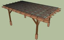 Covered Pergola Plans Design, DIY How to build 12x20' (4 Posts) Instructions