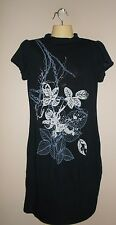 Appropriate Behavior Womens Size M Solid Black w/ Floral Front Stretch Tunic Top