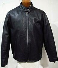 New listing Vtg Men's Black Leather Motorcycle Jacket w Cafe Racer Collar Sz Xl
