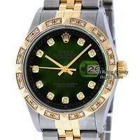 Rolex Mens Datejust 16013 SS/18K Yellow Gold Green Vignette Diamond Dial Bezel
