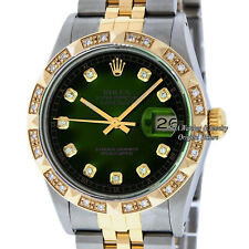 Rolex Mens Datejust 16013 SS/18K Yellow Gold Green Vignette Diamond Dial Bezel