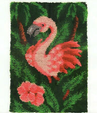 FLAMINGO PINK ON GREEN LATCH HOOK RUG KIT from UK Seller, BRAND NEW