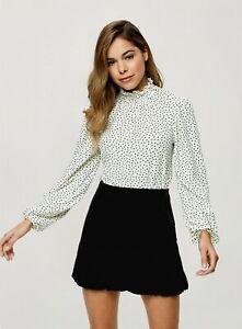 Miss Selfridge Womens Black Velvet Puffball Mini Casual Skirt Plain Loose Fit