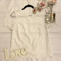 White Company Size 8 white lace layered floral t shirt boxy loose fit party VGC