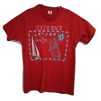 VTG Cocoa Beach Florida Embroidered/Graphic Single Stitch Souvenir T-Shirt M