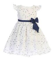 White Navy Blue Flower Girls Cotton Print Dress Baby Kids Wedding Easter Party