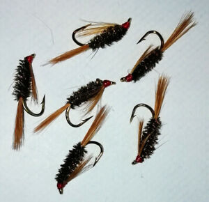 5 No. Red Headed Diawl Bach size 10 - Ref N33 - trout nymph
