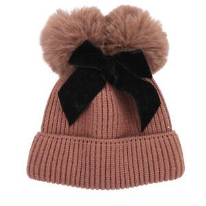 Double Fur Pom Pom Baby Winter Hat for Girls Bows Warm Baby Beanie Kids Cap