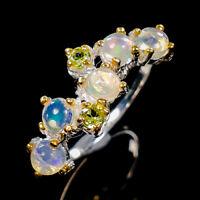 Opal Ring Silver 925 Sterling Fine Art Design Size 7 /R138008