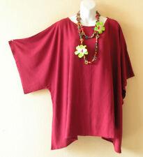 Plain Cranberry Solid Plus Kaftan Poncho Kimono Tunic Blouse Top -2X, 3X, 4X, 5X