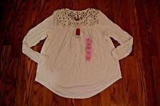 NWT Womens Philosophy White Crochet Top Long Sleeve Shirt Size 2XL $68