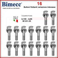 16 Bulloni Variazione Interasse Flottanti M12X1,25 FIAT 4X100 4X98 KIT