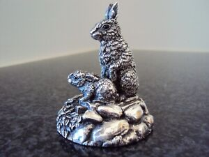 Country Artists Hallmarked Silver (filled) Mother and Baby Rabbit.