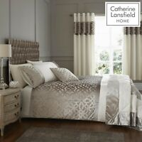 Catherine Lansfield Lattice Cut Velvet Trellis Duvet/Bedding Set Natural