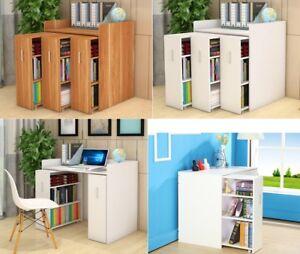 Wooden 3in1 Vertical Sliding Drawers Book Shelves Shelf Bookcase Storage Cabinet