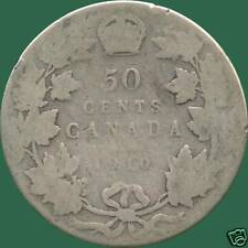 1910 Canada Silver 50 Cent Piece (Edward Leaves) (11.66 grams .925 Silver)