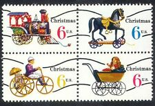 USA 1970 Christmas/Toys/Horse/Train/Steam/Locomotive/Pram/Bike 4v blk (n34530)