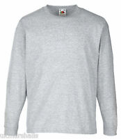 FRUIT OF THE LOOM CHILDS KIDS BOYS GIRLS LONG SLEEVE T SHIRT ALL SIZES