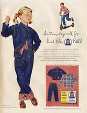 1954 Blue Bell PRINT AD Suede Lined Jacket Jeans Young Boy & Girl