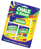 BAZIC 12 Color & 12 White Chalk w/ Eraser Set for School, Crafts, or Outside Pla