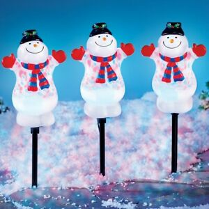Set of 3 Smiling Snowmen Christmas Pathway Marker Stakes w/ Moving Projector