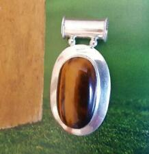 RARE XL Chunky STERLING SILVER Slide Pendant TIGERS EYE Cabochon Necklace VCG