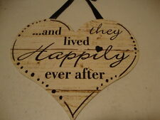 HAPPILY EVERY AFTER new wood Heart wall hanger