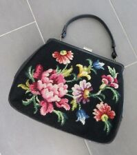 VINTAGE GOBELIN LEDER HANDTASCHE 1950`s_HUGE NEEDLEPOINT LEATHER HANDBAG TOTE