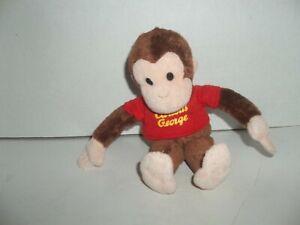 "applause curious george monkey plush bean bag 8"" tall red shirt"
