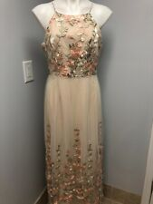 BHLDN Gown  Shannon Floral Embroidery Anthopologie Large Halter