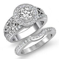 2.5ct Round Javda Diamond Engagement Bridal Set Filigree Ring GIA F VS2 Platinum