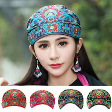 Womens Embroidery Florals Ethnic Cotton Beanie Hat Vintage Elastic Turban Cap