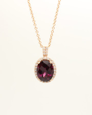 14K Rose Gold Pendant Red RHODALITE GARNET & DIAMOND