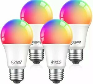 Smart Light Bulbs, Color Changing Dimmable LED WiFi Bulbs Work with Alexa 4 Pack