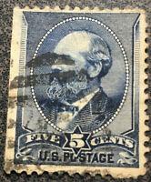 Scott #216 1882 US 5 Cent James Garfield Stamp - Indigo -F