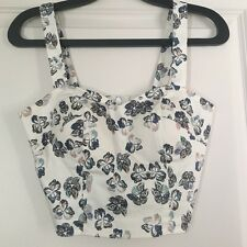 NWT White Blue Orange Butterfly Floral Print Padded Bustier Corset Crop Top Tank