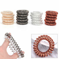 New 12PCS Rubber Telephone Wire Hair Ties Spiral Hair Head Elastic Bands