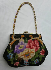 Womens*VINTAGE*HAND BAG*FLORAL DESIGN*HAND EMBROIDERED*EUROPEAN*GORGEOUS*