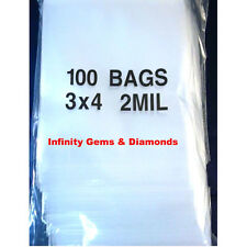 "100 3""x4"" ZIPLOCK BAGS Clear 2MIL Small Poly Bag Reclosable Bags Plastic Baggies"