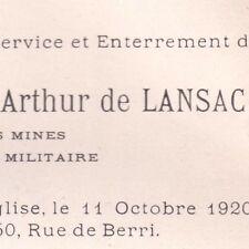 Jacques François Arthur De Lansac 50 Rue de Berri Paris 1920 Ingénieur des Mines